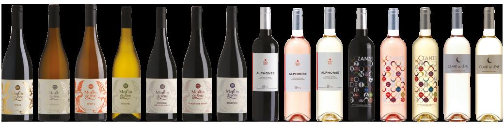 Tous les vins du moulin de Lène, gamme Origine, gamme Alphonse, gamme Zanzibar et gamme Clair de Lène